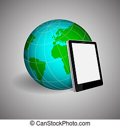 Tablet PC and planet on gray background. EPS10 vector
