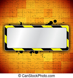 Orange background with frame and warning stripe