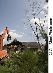 Demolition Crane starts taking down my neighbors house - A...