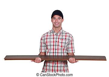 trabajador, proceso de llevar, madera contrachapada