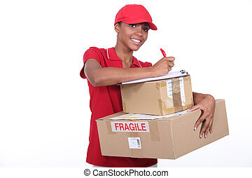 Woman making a delivery