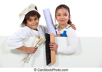 Kids decorating with a board left blank for your message