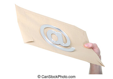 Concept shot of email: an sign on an envelope