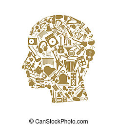 Musical head4 - Head made of musical instruments A vector...