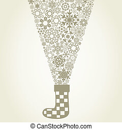 Sock Christmas - From a Christmas sock snowflakes fly. A...