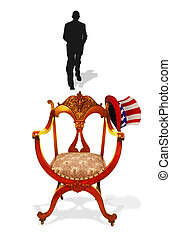 Presidential Empty Chair - Empty chair with shadow moving...