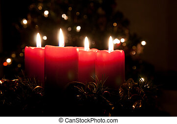 Christmas advent wreath with burning candles - Christmas...