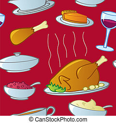 Seamless Thanksgiving Food - A seamless pattern of...