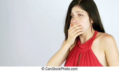 Beautiful sick girl coughing - Ill girl coughing with bad...