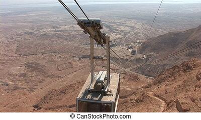 cableway on Mount Masada (Masada - ancient fortress at the...