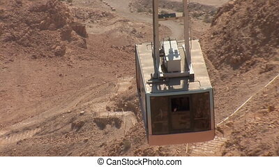 cableway on Mount Masada Masada - ancient fortress at the...