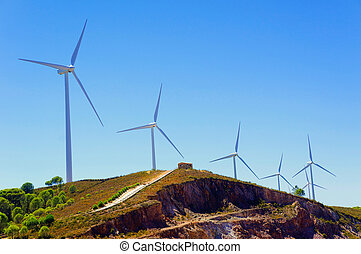 windmills, Andalusia, Spain - Wind turbines or modern white...