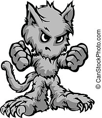 Werewolf Halloween Monster Cartoon Vector Illustration -...