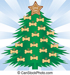 Good Dog Christmas Tree - Christmas tree with dog bone...