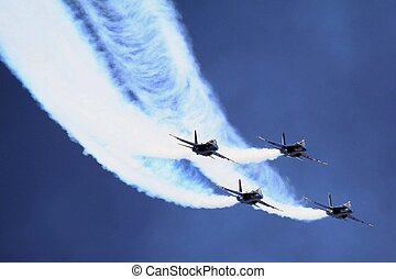 Smoke trails - F18 Hornet fighters in formation