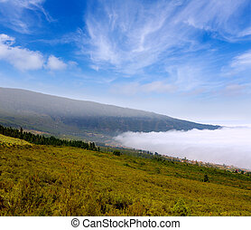 Orotava valley with sea of clouds in Tenerife mountains at...