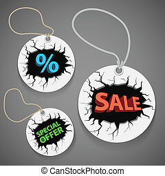 Discount shopping tags set