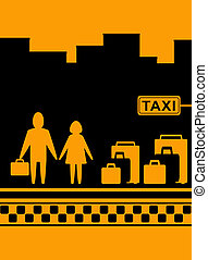 man and woman with bag waiting cab