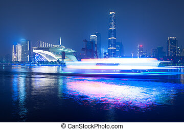 Night scene of Guanghzou city - Pearl river and west tower...