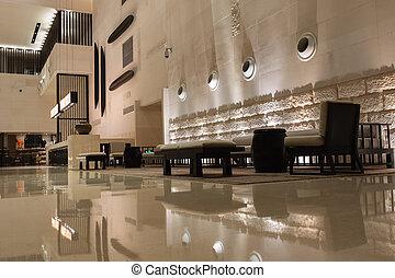 Modern hotel interior view