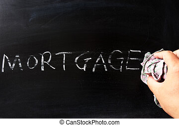 Wiping off mortgage - Hand wiping off mortgage on blackboard...