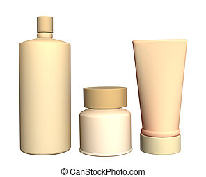 Three cosmetic 3d tubes of beige color. Objects over white