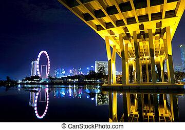 Singapore skyline at night with Bridge