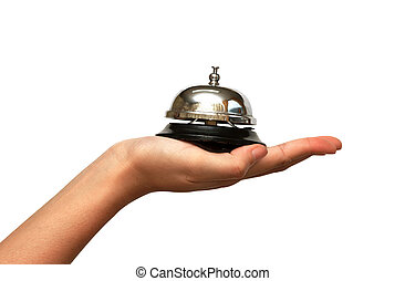 woman hand giveing a hotel service bell in isolated...