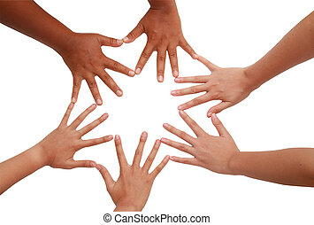 Hand coordination ,Multiracial hands holding each other in...