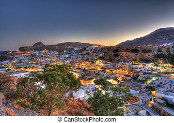 Lindos rhodes greece sunset HDR - Looking over the rooftops...
