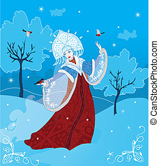 Snegurochka russian style vector illustration Winter fantasy...