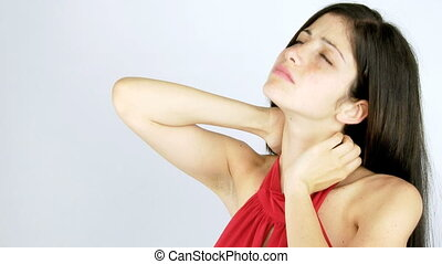 Beautiful woman with neck pain