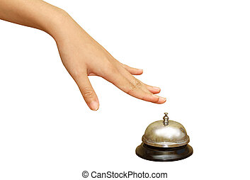 woman hand pressing a hotel service bell in isolated...