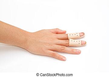 roto, dedo, tablilla, blanco, Plano de fondo