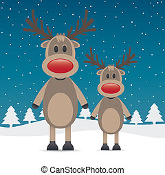 two rudolph reindeer red nose snow falls