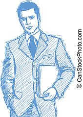 Sketch Businessman With Laptop - Vector Sketch, comics style...