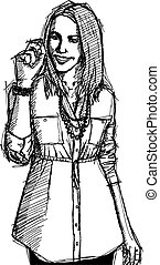 Sketch Business woman Writting Something - Vector Sketch,...