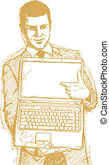 Sketch Businessman With Open Laptop In His Hands - Vector...