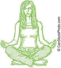 Sketch woman meditation in lotus pose - Vector Sketch,...