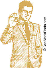 Sketch happy businessman in suit shows OK - Vector Sketch,...