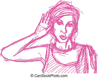 Sketch woman overhearing something - Vector Sketch, comics...