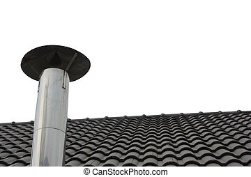 chaminé, parte, telhado