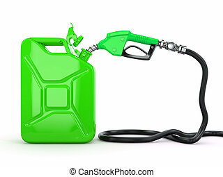 Gas pump nozzle and jerrycan. 3d