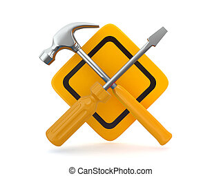 Utility. Tools, screwdriver and hammer. - Utility. Tools,...