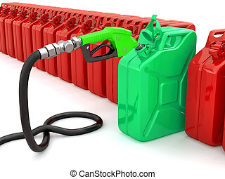 Gas pump nozzle and fuel can. 3d