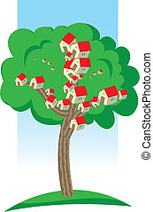 Houses growing on tree - Illustration with houses growing on...