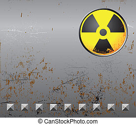 Metal background with radiation sign - Rusty metal...