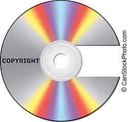 Copyright CD - CD cut out as copyright sign with note
