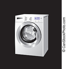 Washing machine - White washing machine with knobs and...
