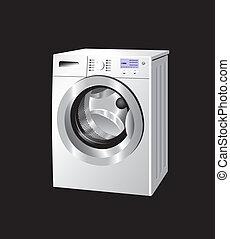 Washing machine - White washing machine with knobs and...